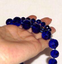 VTG ART DECO COBALT BLUE FACETED GLASS GRADUATED 8 - 15mm NECKLACE 29'' KNOTTED