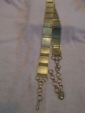 "Vintage Gold Linked Metal Squares Adjustable Belt 27"" Plus Extensions"