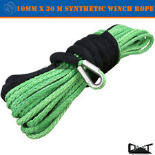 10MM x 30M Green Winch Rope Synthetic strap 4WD AVT Boat Recovery Cable Fairlead