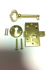 L-1B BRASS PLATED STEEL Flush Mount Cabinet Door Lock & Skeleton Key