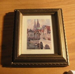 """Vintage Nicholas """"Marc"""" Markovitch Miniture Watercolor signed & frame Painting"""