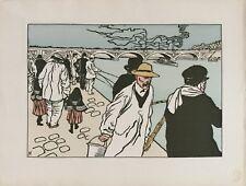 Charles HUARD 1874-1965.Pêcheurs à la ligne.1898.Zincographie.22x32Monogrammé.