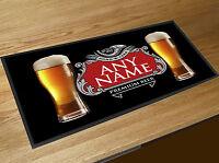 Personalised Beers Glasses Red & Silver beer label Beer label Bar runner