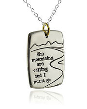 The Mountains Are Calling I Must Go Necklace - Alpaca Silver, Brass - Nature NEW