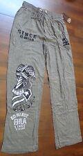Ed Hardy Men's Lounge 100% Cotton Pants Bald Eagle Print Green Dust Large New