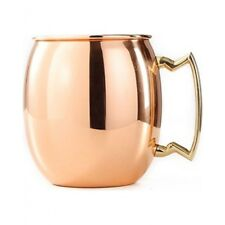 Winco Cmm-20, 20-Ounce Solid Moscow Mule Mug with Brass Handle, Copper-Plated