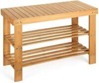 3-Tier Bamboo Shoe Rack Bench Shoe Organizer Storage Shelf Home Furniture