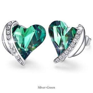 Womens Silver Green Crystal Zircon Love Heart Stud Earrings Anniversary Day Gift