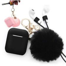 3PC Airpods Case Fur Ball Key Chain Pompom Gold Keychain Women Bag Accessory New