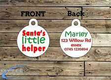 Christmas Dog ID Tags -- Santa's Little Helper -- Double Sided Personalised Pet