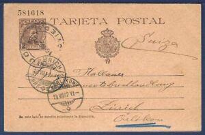 SPAIN Postal Card Tarjeta Postal Oviedo to Zurich, Switzerland 1902