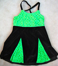 GLAMOUR COSTUMES GIRLS DANCE TAP JAZZ COSTUME BLACK VELVET GREEN CHILD XL 14 16