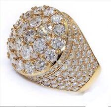 Hip Men's 3 Ct 14K Yellow Gold Over Ice Diamond Wedding Engagement Pinky Ring