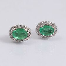 Genuine Emerald Studs Minimalist Cluster Earrings 925 Sterling Silver Vintage