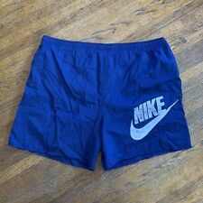 Vintage 90s Nike Swoosh Swim Trunks Shorts Men's Size XL White Tag Blue White
