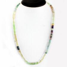 182.05 Cts Natural 20 Inches Long Rich Multi Fluorite Untreated Beads Necklace