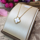 18K Gold 925 Sterling Silver Double Sides Shell Clover Pendant Necklace Gift Box