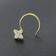 Diamond Nose Stud Ring Piercing Pin 14K Yellow Gold Over Round Cut