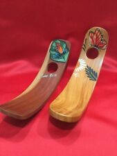 Costa Rica Hand Crafted Painted Wood Wine Bottle Holder Tropical Butterfly Frog