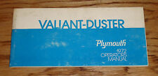 Original 1972 Plymouth Valiant - Duster Owners Operators Manual 72