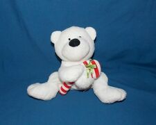Ty Pluffies Tylux White Polar Bear Candy Cane stuffed plush beanie babies 8""