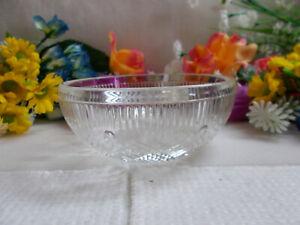 LOVELY VINTAGE GLASS BOWL - CIRCLE / PANELED AND DIAMOND CUT DESIGN 12 cm # 739