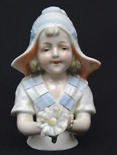 Porzellanfigur / Porzellan Puppe - handgemalt - Biedermeier Teepuppe - Half Doll