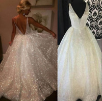 New Women Deep V Backless Sequin Big Tail Party Evening Cocktail Dress Ball Gown