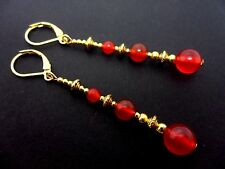A PAIR RED JADE BEAD GOLD TONE EXTRA LONG DANGLY LEVERBACK HOOK EARRINGS. NEW.