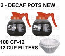 BUNN Coffee pots 2 decaf 12 cup 64oz glass 42401.0103 & 100 FREE CF12 FILTERS