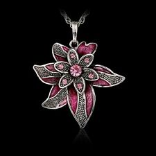Hot Lucky Cute Leaf Flower Pendant Necklace Crystal Rhinestone Long Silver Chain
