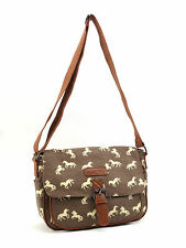 Ladies, Womens Brown Horse Print Canvas Messenger Cross Body Satchel Bag