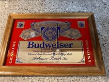 Collectible Vintage 1980s Wood Framed Budweiser Beer Glass Mirror Sign 11�x17.5�