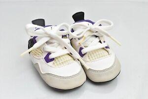 2012 Jordan 4 Retro White Baby Crib Infant Size 2C Shoes Grape Purple 487219-108