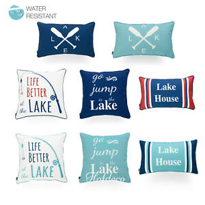 Hofdeco Cushion Cover OUTDOOR WATER RESISTANT Summer Lake Aqua Navy Red