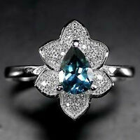 Sterling Silver 925 Pear Faceted London Blue Topaz Ring Size P.5 (US 8)
