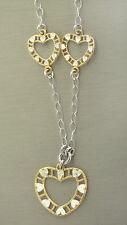 Elegante Silberkette 925 - Collier mit Herz Gold / Silber - Kette Silber massiv