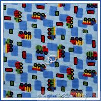 BonEful Fabric FQ Cotton KNIT VTG Boy Baby S Blanket Soft Quilt TRUCK Blue Block