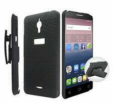"2016 NEW For ALCATEL PIXI 4 6"" 8050 Phone Black Kick Stand Case + Clip Holster"