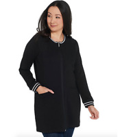 Denim & Co Plus 3X Active Petite Tunic Jacket with Striped Rib Trim Black P3X