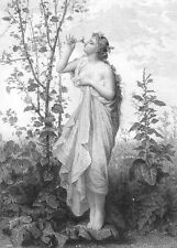 PRETTY YOUNG NAKED NUDE Woman Girl GODDESS AURORA ~ Old 1878 Art Print Engraving