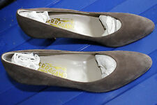 Women's Ferragamo Loredana Suede Leather Brown Pumps Dress Shoes Sz 8 New in Box