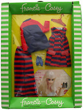 Vintage Francie and Casey #1242 Blue Red Striped Clothing Set Dress Jacket, NIB