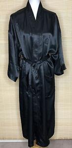CHRISTIAN DIOR MONSIEUR Black Satin Long Wrap Robe Women's Men's One Size