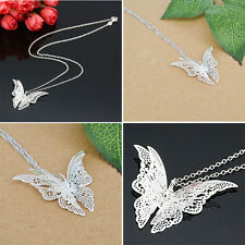 Classical Women Lady Fashion 925 Silver Plated Butterfly Necklace Pendant Gift