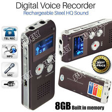 SUNDELY Rechargeable Digital Sound Recorder 8GB Steel Voice Dictaphone