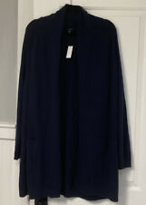 Nwt Talbots 1X Navy Cotton And Cashmere Blend Long Cardigan Sweater