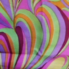 Vintage Hand Rolled Psychedelic Swirl Scarf Purple~Neon Green~Hot Pink~Yellow
