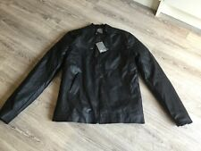 Asos Black Faux Leather Biker Jacket - Size  XL Long - New With Tags