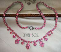 VINTAGE 1950s Pink RHINESTONE CRYSTAL Drops RIVIERE NECKLACE BRIDGERTON STYLE